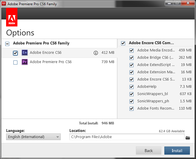 Premiere CS6 installer also installs Encore Installer