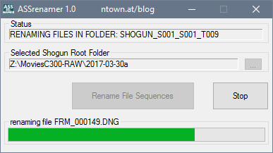 ASSrenamer - CinemaDNG File Sequence Renamer for Atomos Shogun Recorders